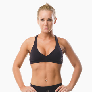 Abi Racer-back Sports Bra Top Jet Black Front