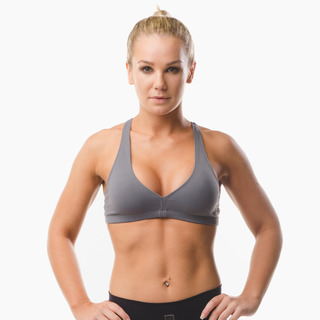Abi Racer-back Sports Bra Top Storm Grey Front