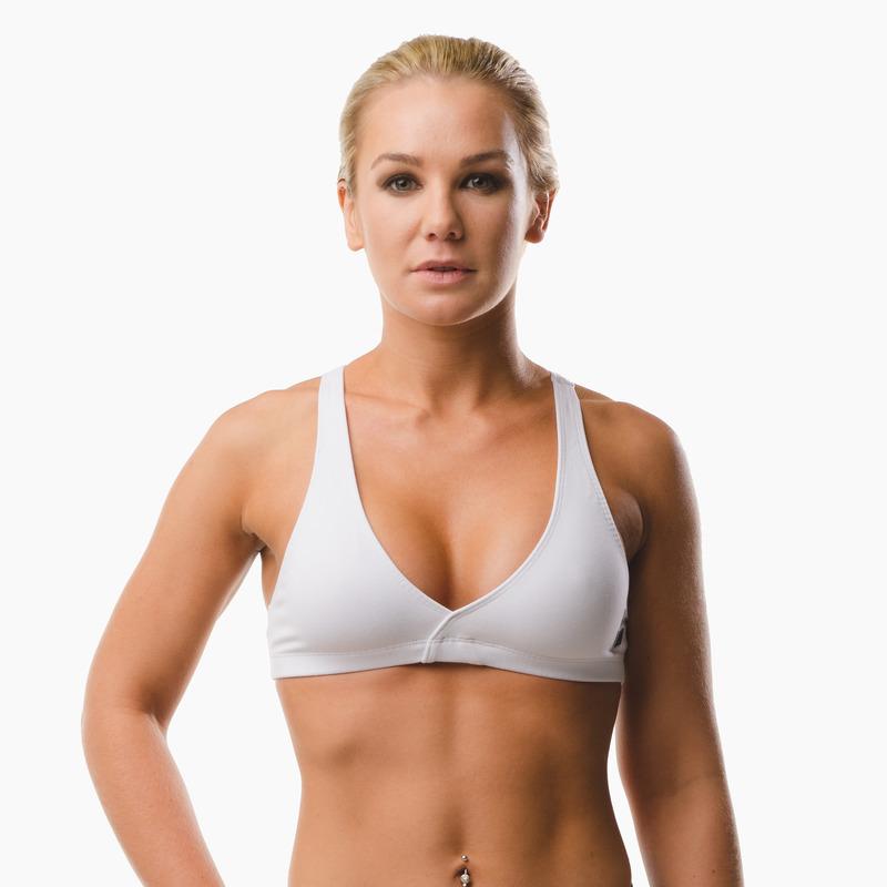 Emi Cross-back Sports Bra Top Arctic White Front